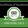 Abbiamo ricevuto il Certificato di Eccellenza Tripadvisor 2013